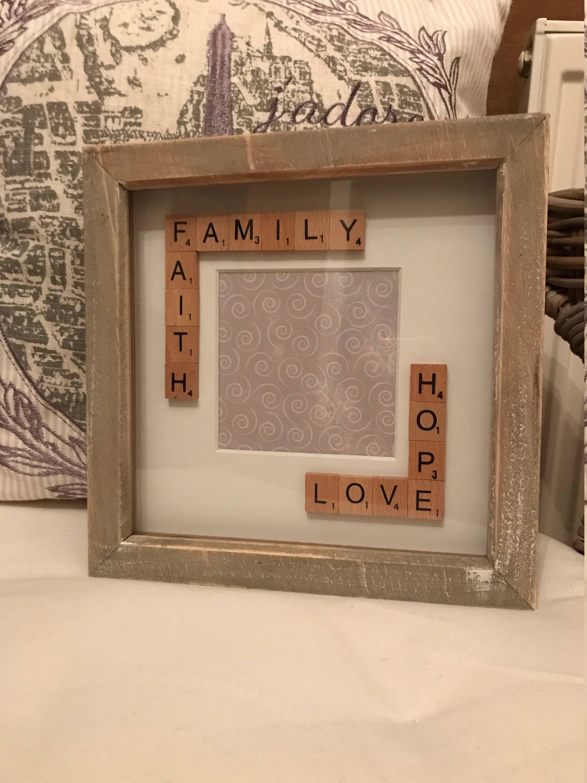 Scrabble Box Frame Gift Idea. Rustic Frame. Shabby Chic Look. Family ...