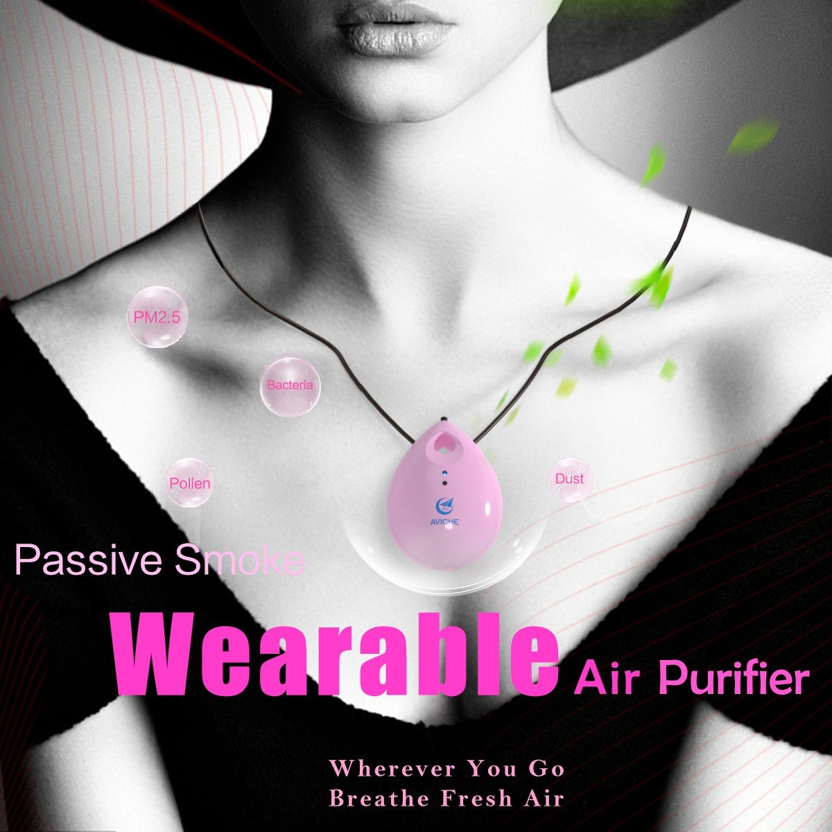 Beautiful Wearable Necklace Air Purifier Personal air