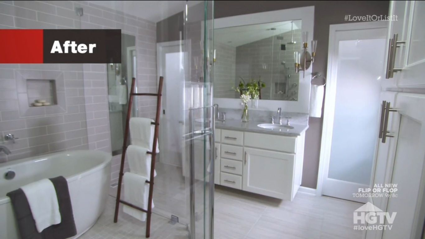 from #LoveItorListIt s11e04 the soaker tub in the wet room is amazing enough, but the real wow for me is the rain shower head (you can see it in the reflection over the sink) in there. I found a few variations on this theme, but this one combines all of the best elements! #LoveLoveLove Thanks for the new dream Hilary!