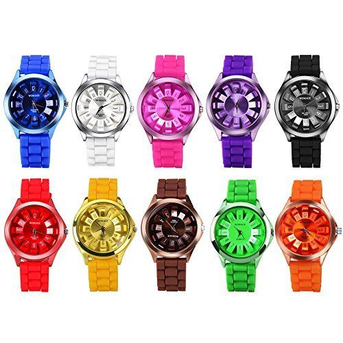 CdyBox Men Women Kids Silicone Band Assorted Jelly Color Watches 10 Packs