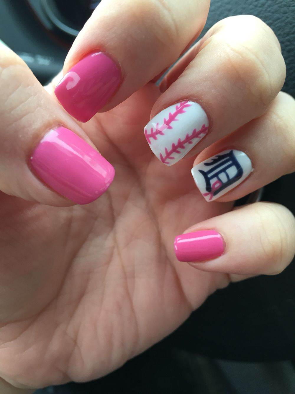 Pink out the park 2016 Detroit Tigers nails. | Tigers nails ...