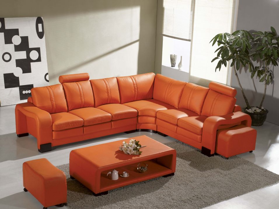 Burnt Orange Corner Sofa