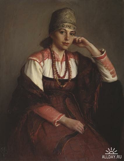 И.И. Глазунов Девушка в русском костюме | Женская одежда ...