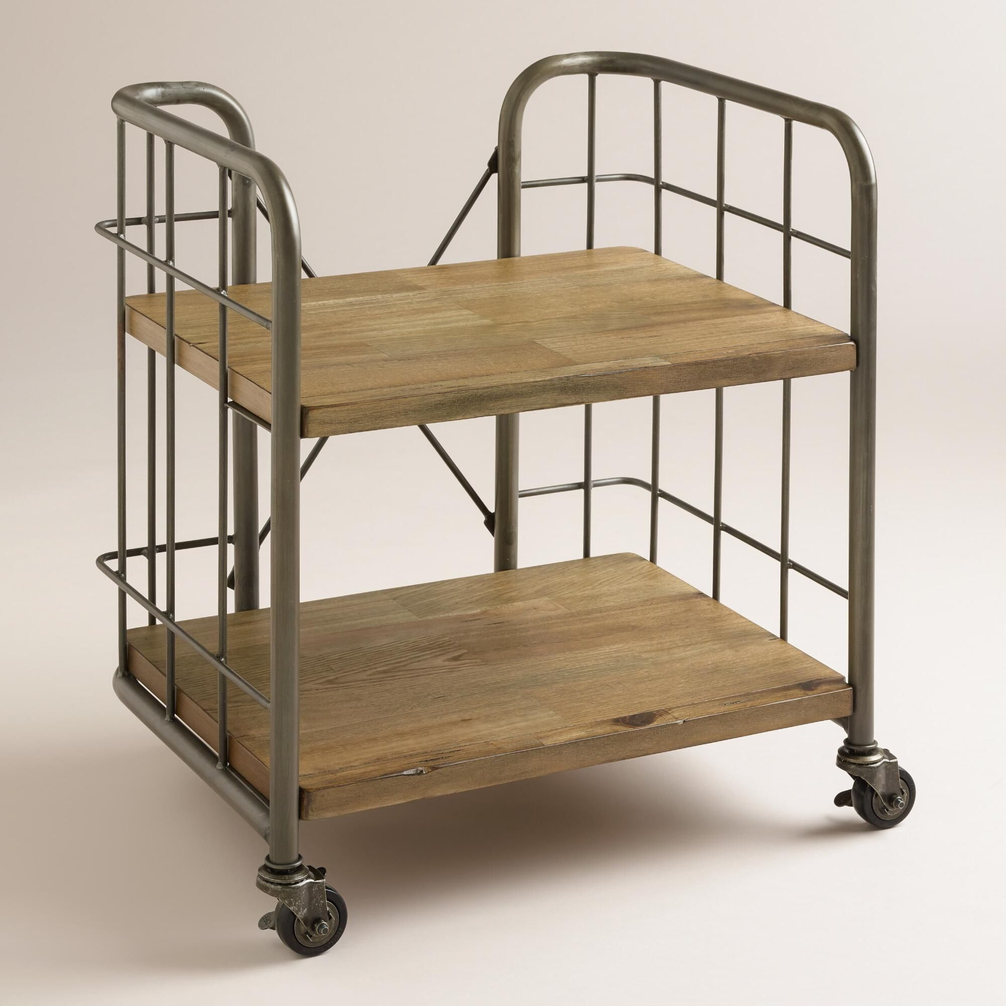 Wood And Metal Industrial Kitchen Cart: Our Compact Small Caiden Cart Combines Distressed Wood And