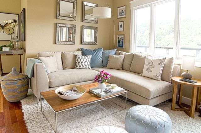 Light Tan Living Room Yellow Curtain White Wall Color Black Gloss