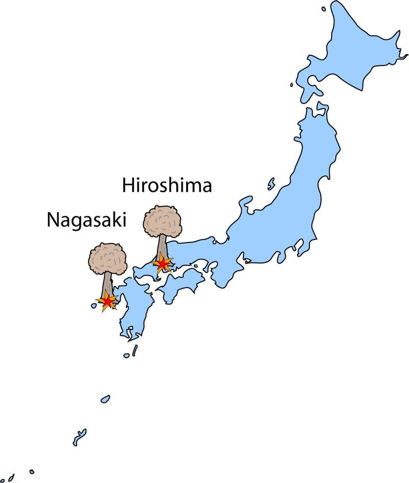 Nagasaki On World Map.A Bombed Cities Nagasaki Hiroshima In 1945 On The Map Nuclear