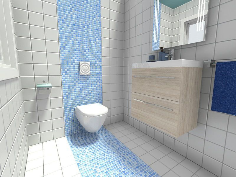 Small bathroom with accent wall of blue mosaic tile for Washroom ideas