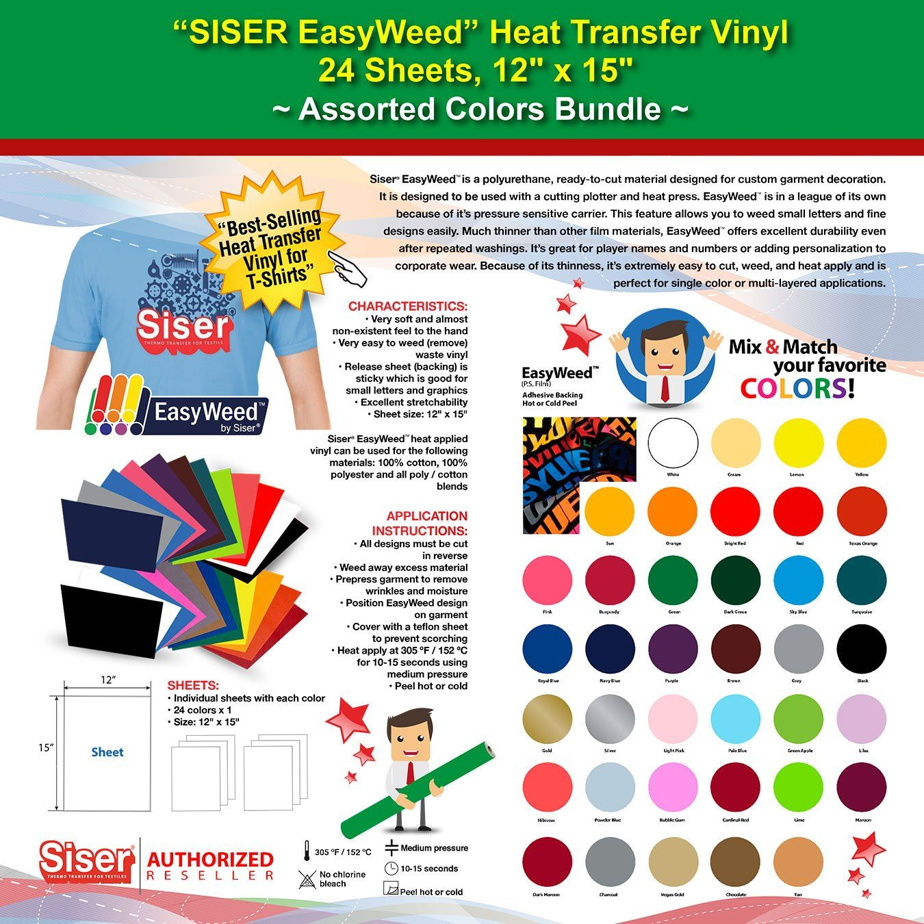 Gercutter Store 24 Sheets 12 X 15 Siser Iron On Easyweed Heat Transfer Vinyl Assorted Colors Starter Bundle Heat Transfer Vinyl Siser Easyweed Siser