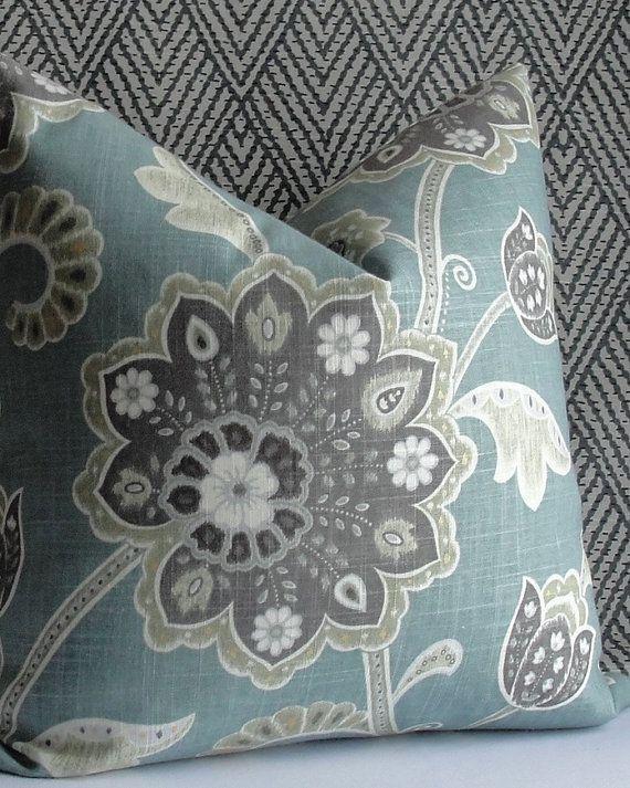 Floral Blue Gray Teal Designer Throw Pillow Both Sides