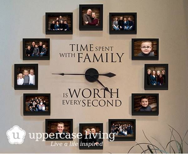 35 Creative Diy Ways To Display Your Family Photos Family Clock Wall Clock With Pictures Photo Wall Clocks