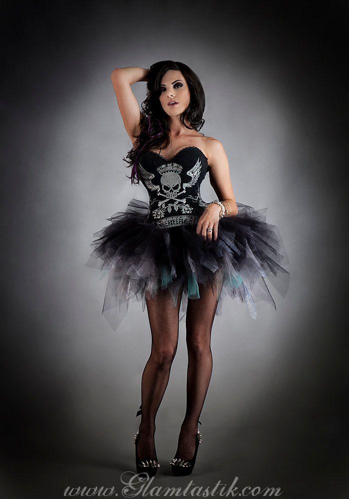 Skull corset Rockstar costume with tutu cfe02885e