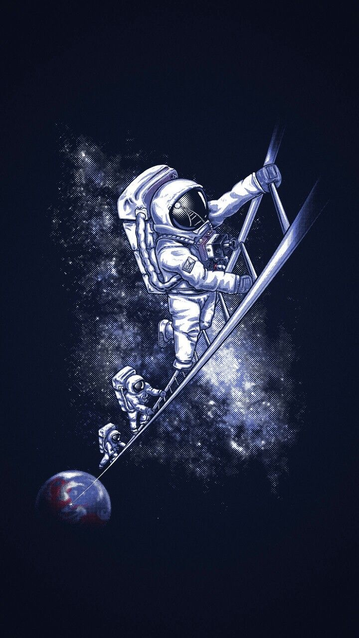 Ladder space astronaut pictures space illustration - Spacecraft wallpaper ...