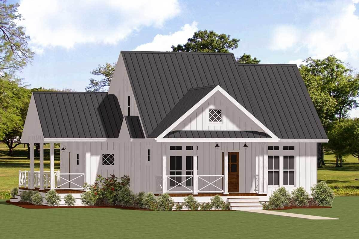 Plan 46367la Charming One Story Two Bed Farmhouse Plan With Wrap Around Porch Small Farmhouse Plans Farmhouse Floor Plans Farmhouse Plans
