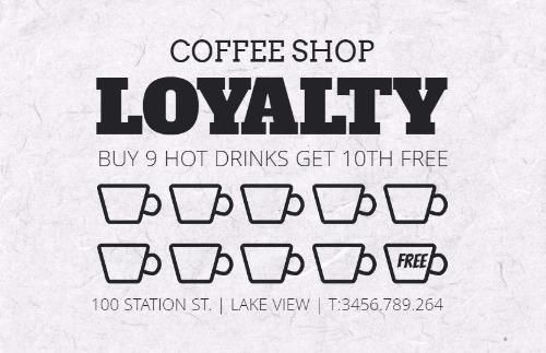 White Coffee Shop Loyalty Card Template Loyalty Card Template Loyalty Card Design Loyalty Card Program