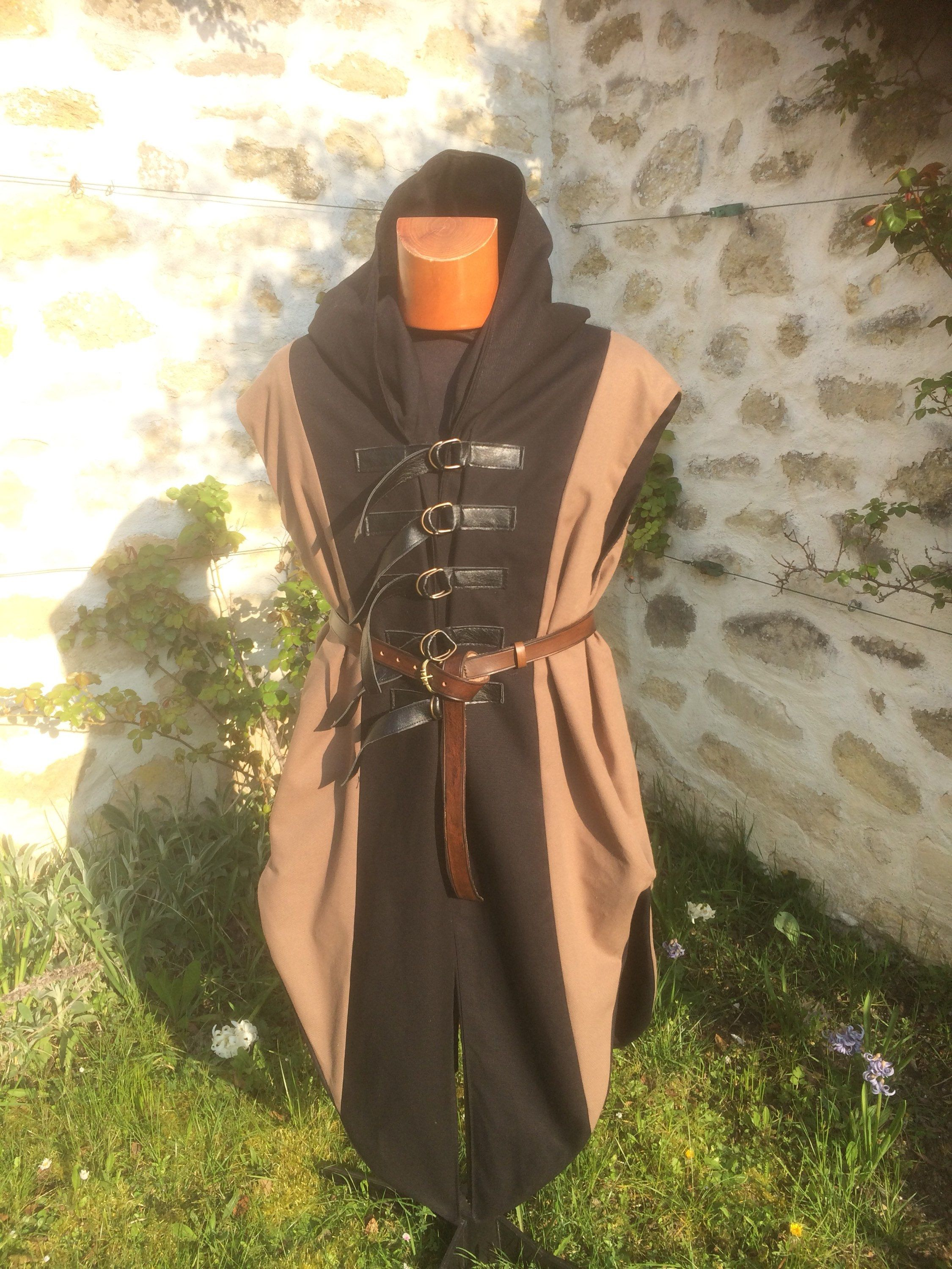 Tabard Hooded Man For Cosplay Steampunk And Gothic Suit Fantastic Medieval Jacket Viking Outfit Thief Archer Elf Archer Costume Costume Design Renaissance Costume