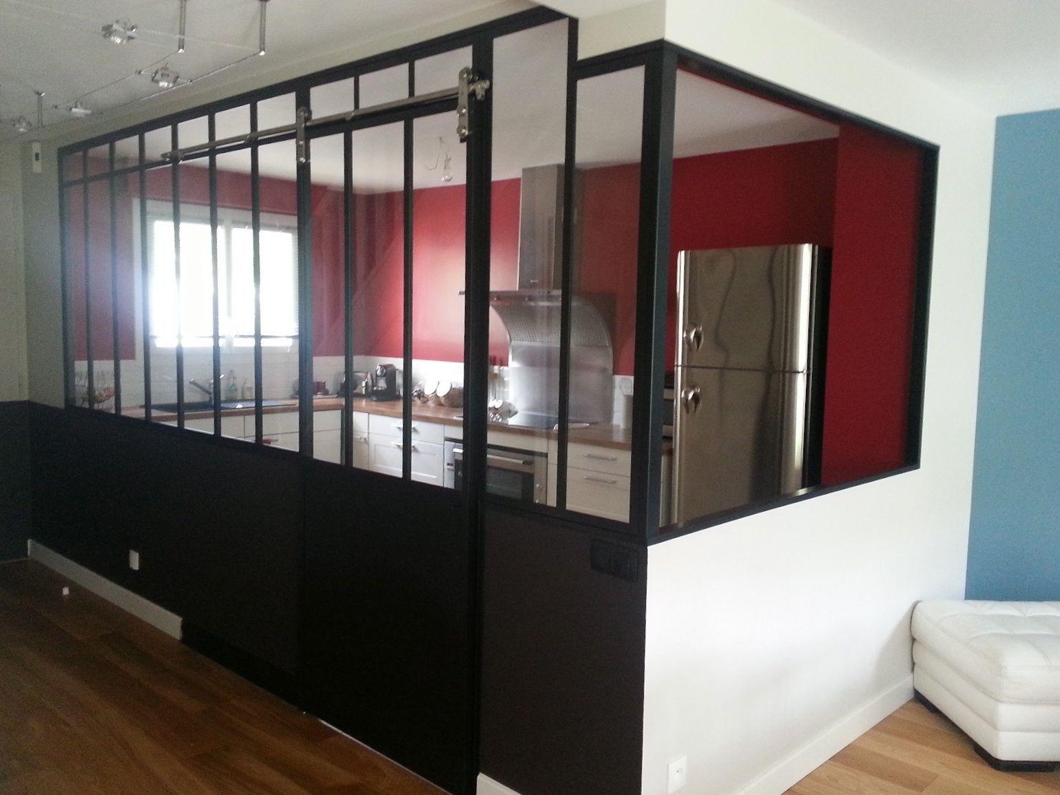 Verri re de cuisine avec porte coulissante porte for Cloison coulissante atelier
