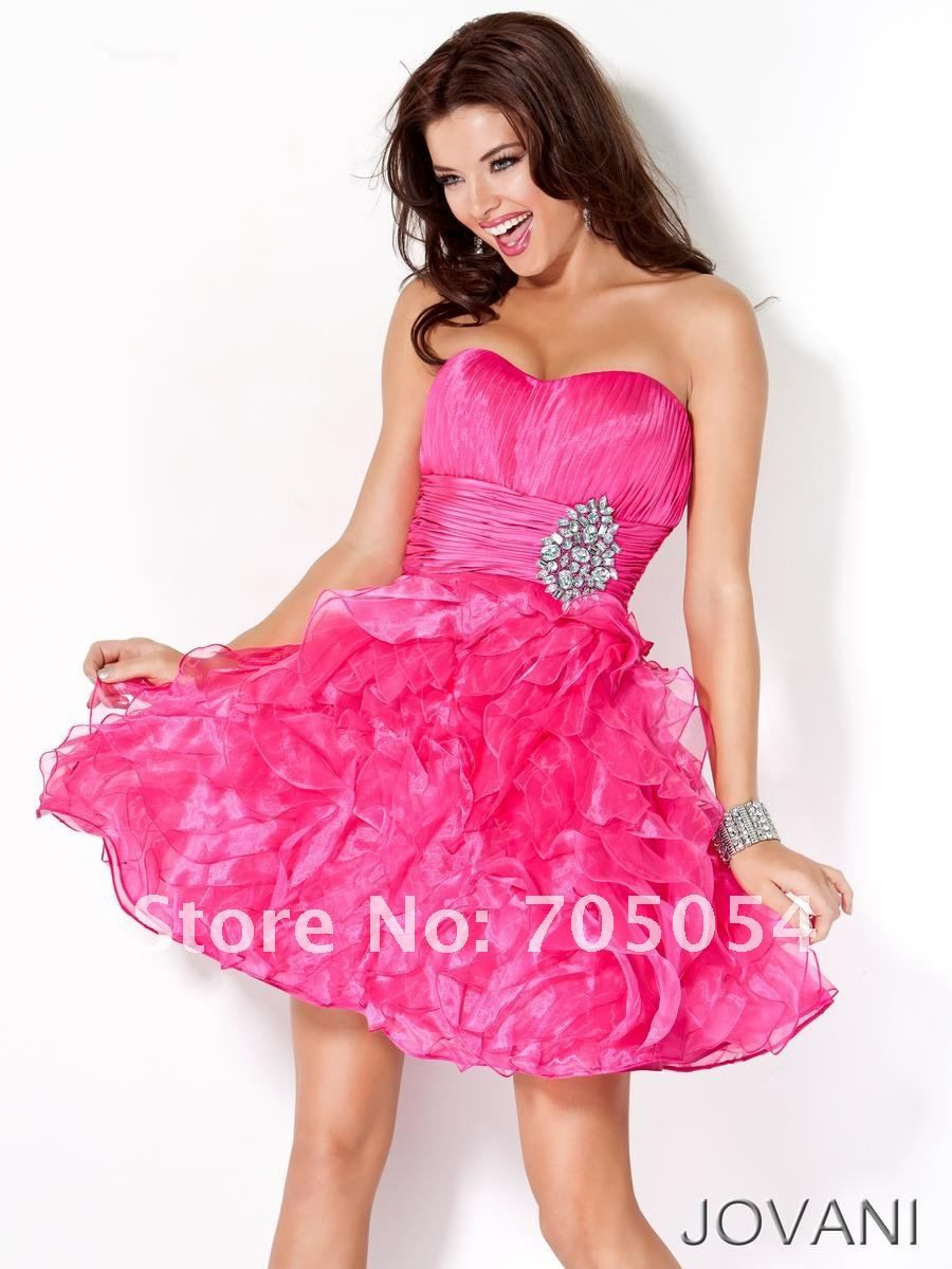 Hot Pink Prom Dresses With Diamondsshort Hot Pink Prom Dresses With ...