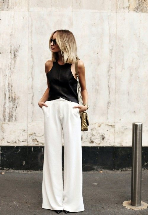 9018f4ff6dd62 black tee and white wide-legged pants | Rainey Street Style ...