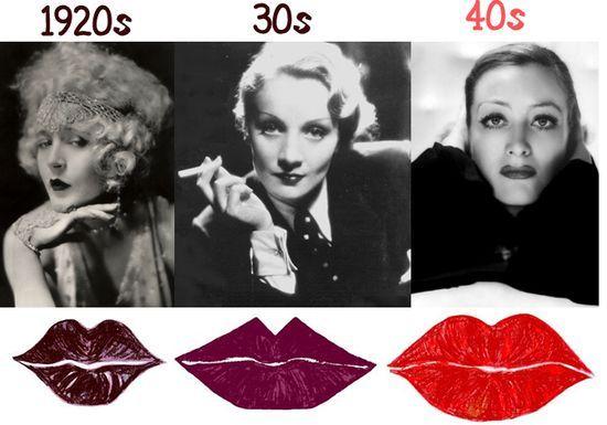 Lipstick trends: 1920s, 30s, 40s
