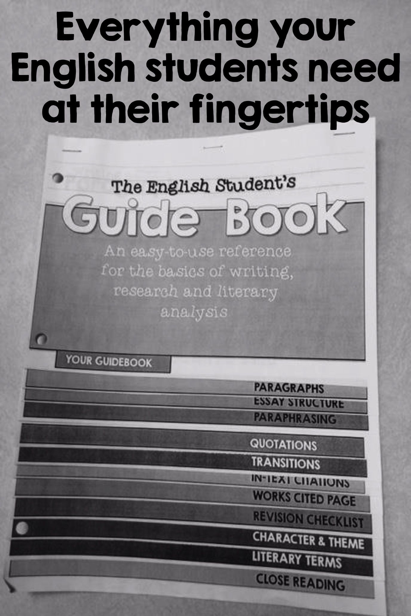 The English Student S Guidebook To Writing Research Analysi Teaching High School Secondary Literary Term Definition For Paraphrase