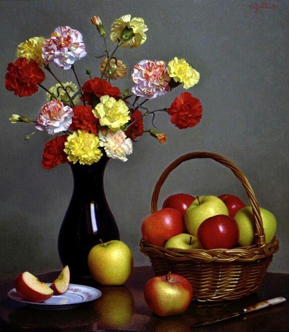 Stephen Gjertson.  Carnations and apples