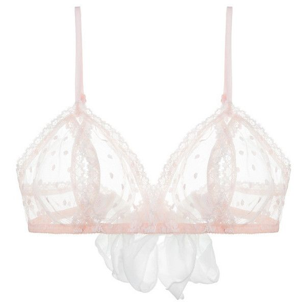 Only Hearts Coucou Bralette ($46) ❤ liked on Polyvore featuring intimates, bras, lingerie, underwear, pale pink, only hearts lingerie, only hearts bra, only hearts, mesh bra e polka dot bra