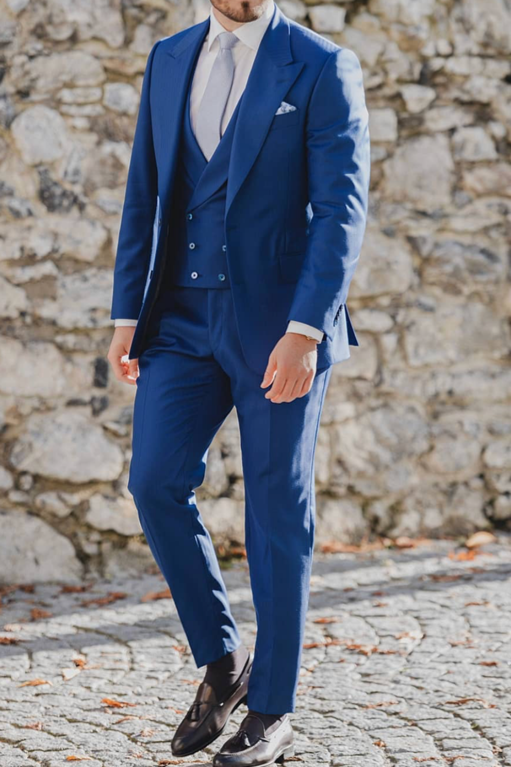 Men's Blue Three Piece Suit Outfit   Groom Style   Giorgenti ...