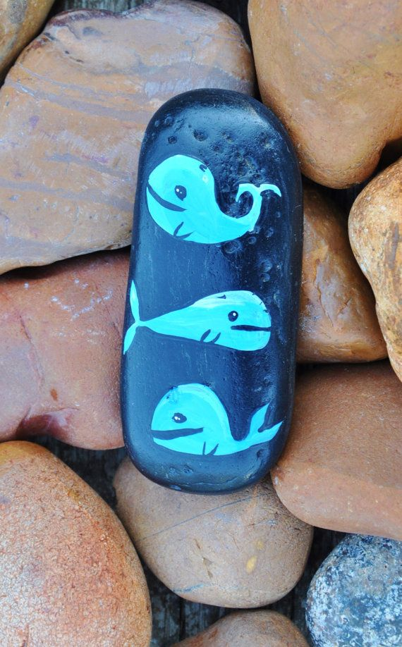 3 Whales Painted On Black Stone Pebble Natural Eco by yuliart2000