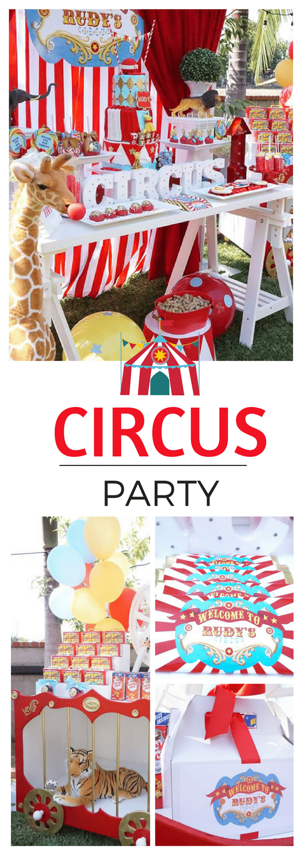 This circus party has a three tiered cake, lions cage and big top colors. This carnival has great desserts and lots of themed ideas for any birthday party.