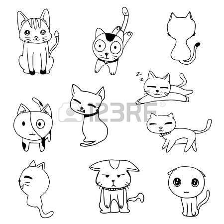 Cat Doodle Drawing A Vector On White Background Set Of Black Cat Doodle Doodle Drawings Doodle Art Designs