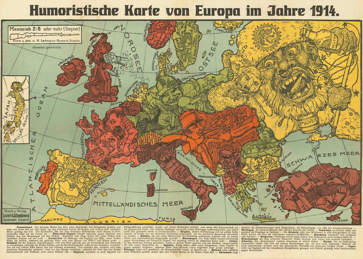 Humoristische Karte Von Europa Im Jahre Humorous