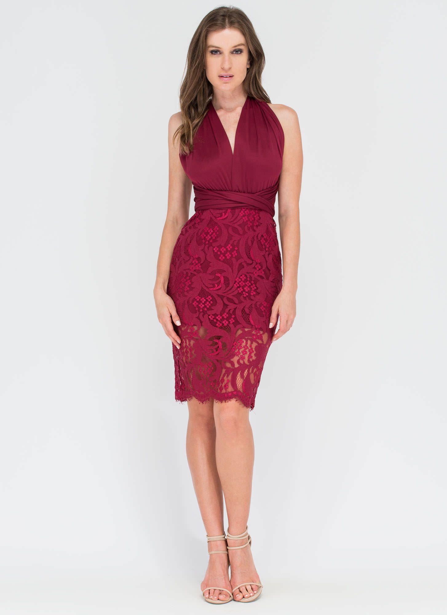My Way Convertible Lace Bodycon Dress BURGUNDY - GoJane.com ...