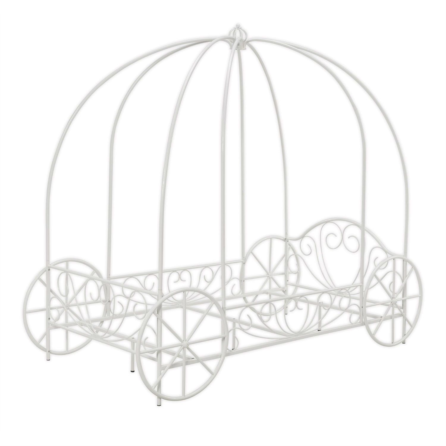 Twin Size Princess Canopy Bed With Decorative Wheels In