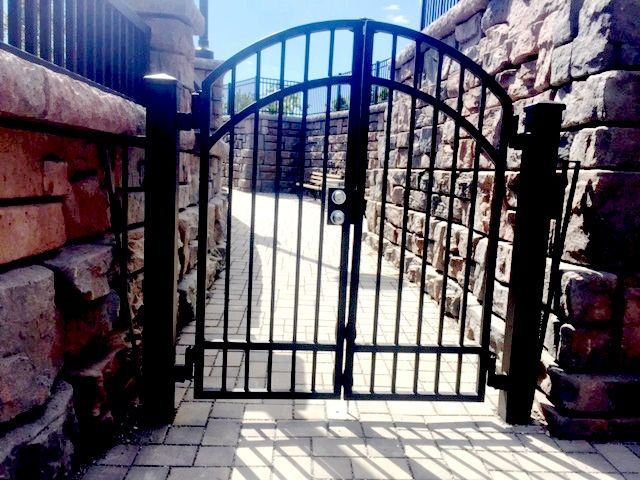 4 Rail Arched Wrought Iron Double Gate Fences