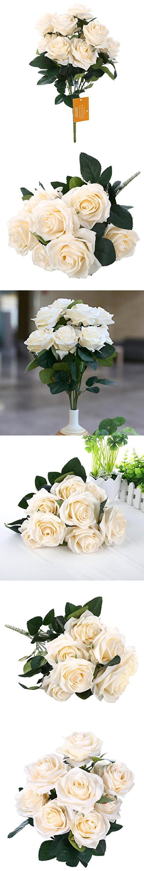 SOLEDI 10 Head French Rose Silk Flower Arrangement Artificial Fake ...