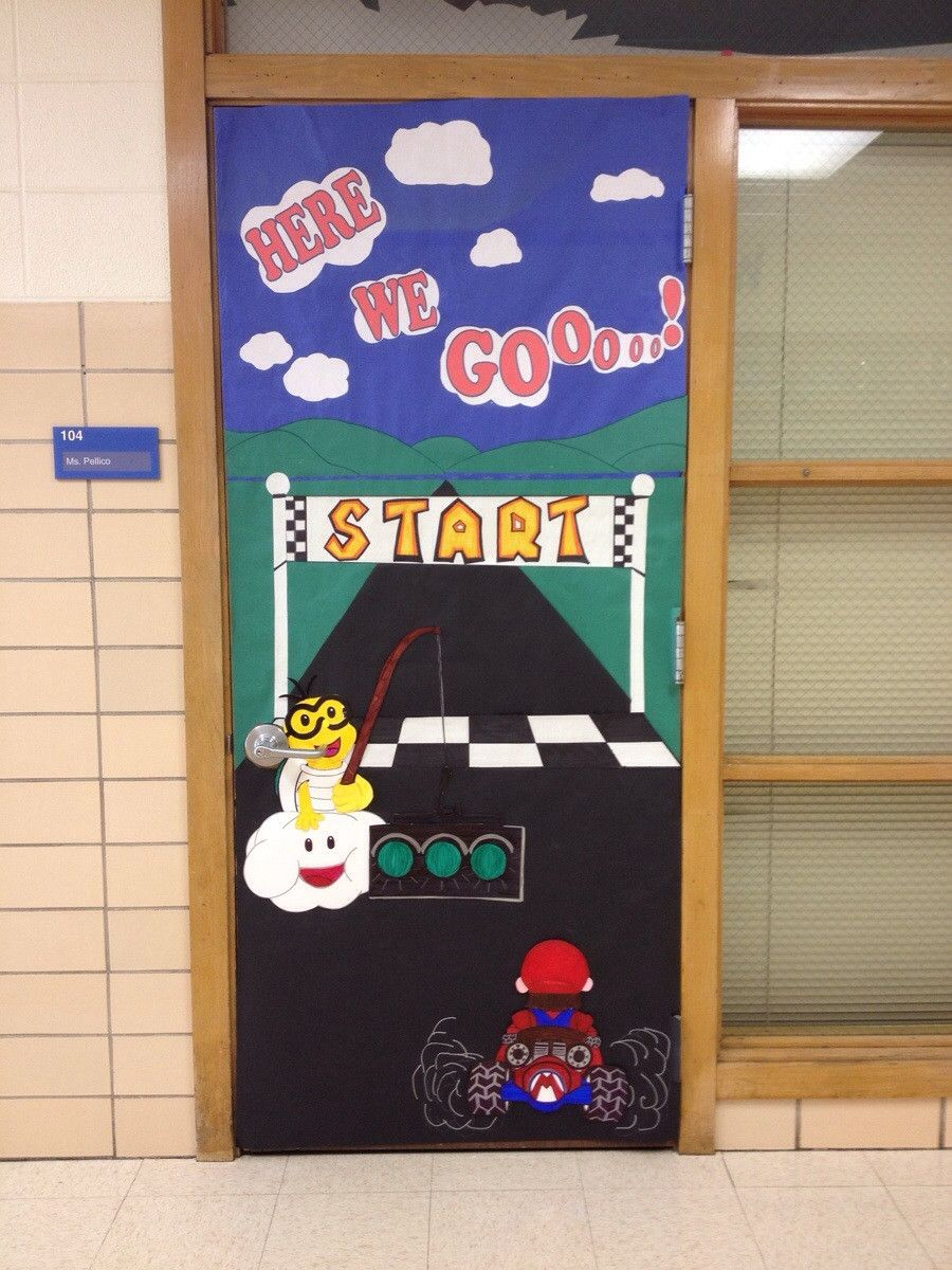 Classroom Decor Games ~ Mario kart classroom door video game fun pinterest
