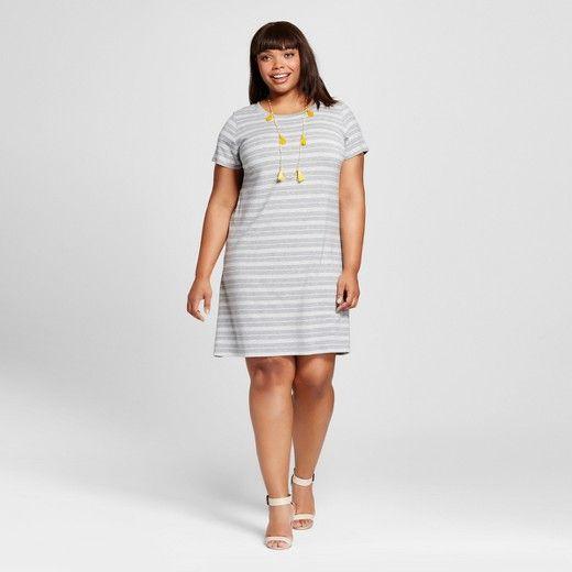 de021e9916a Women s Plus Size Striped T-Shirt Dress - Ava   Viv™   Target