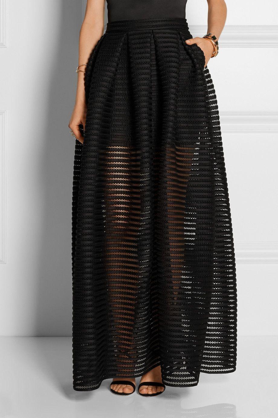 order classic styles newest collection Maje | Jupe longue en résille à rayures et jersey Jongle ...