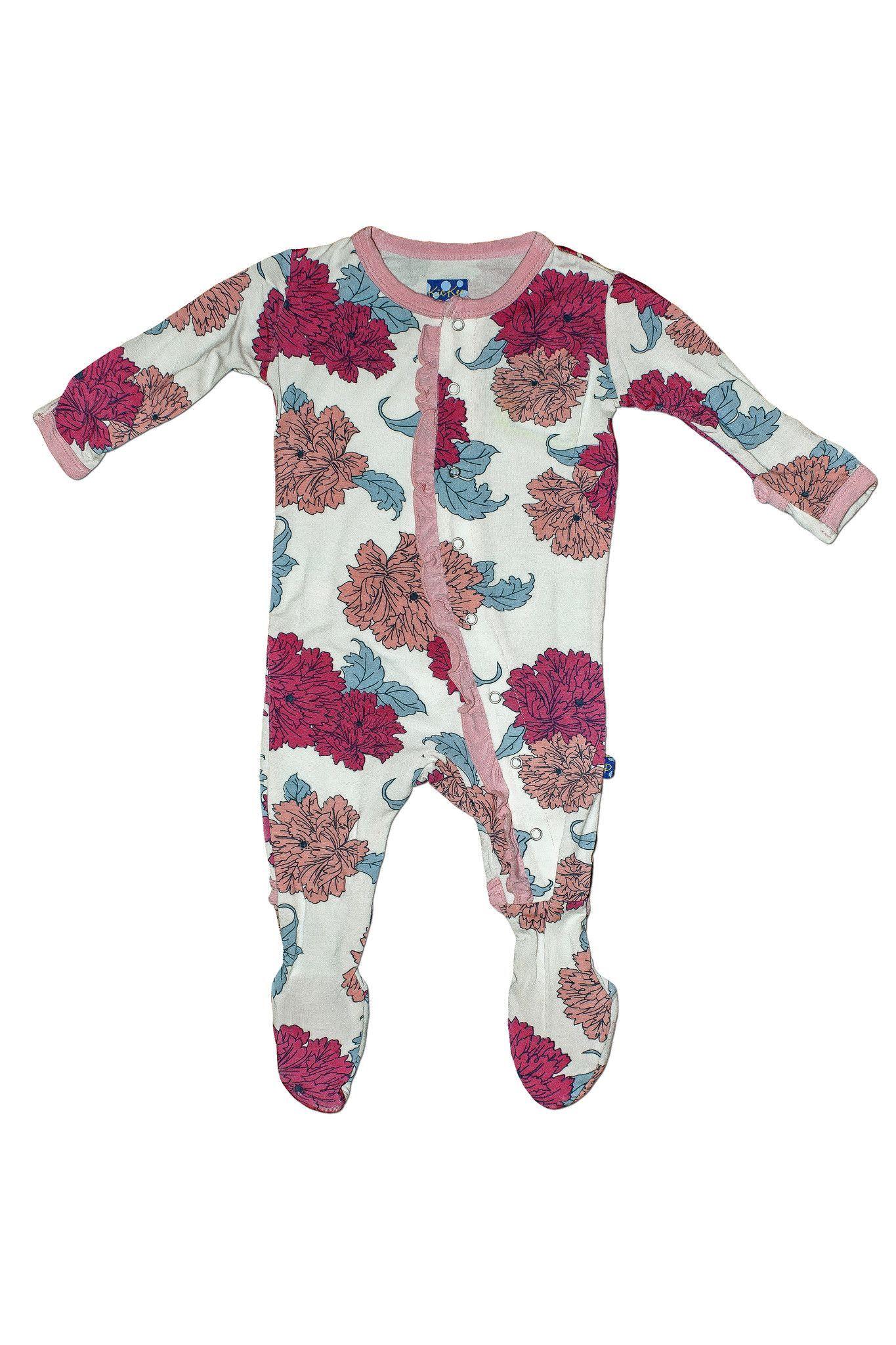 KicKee Pants Peony Ruffle Footie Baby Girl