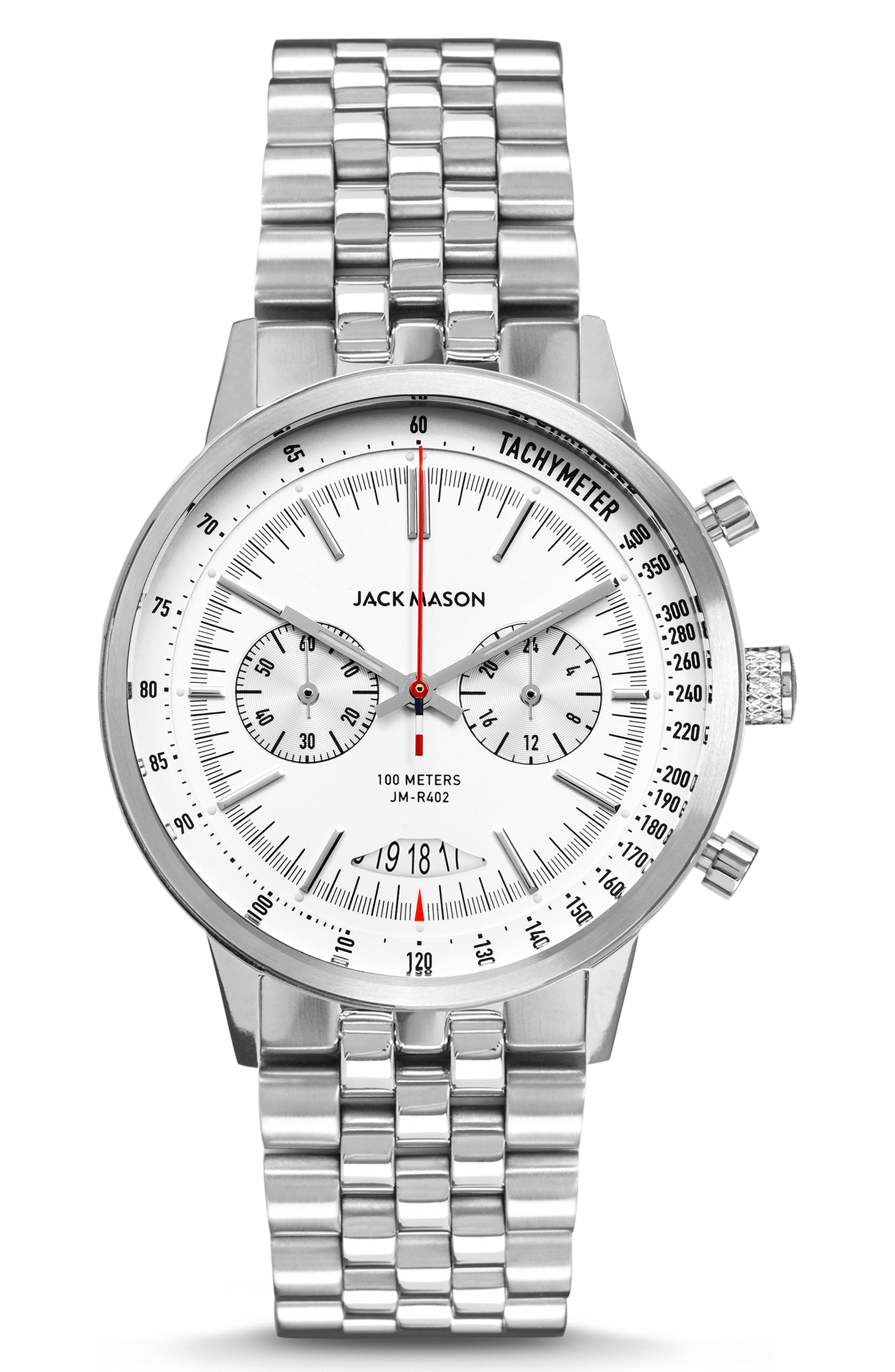 Racing Chronograph Bracelet Watch, 40mm In White/ Silver