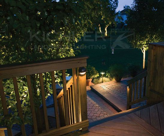 Create A Safe And Beautiful Deckscape Add Safety As Well As Ambience With Deck Lights Around The Railing And Down The Sta Patio Lighting Kichler Landscape Lighting Volt Landscape Lighting