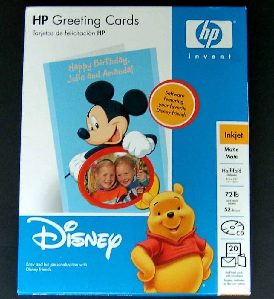 Disney hp greeting cards mickey mouse inkjet matte 20 ct cards make your very own personalized disney greeting cards item hp greeting cards matte for inkjet printers disney cd includes favorite disney friends m4hsunfo
