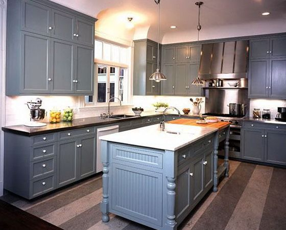 kitchen with gray cabinets and butcher block counters ...