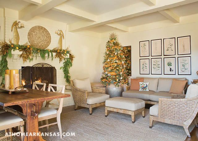 A once dark, Tudor-inspired home gets a light, bright makeover to welcome a large family home for the holidays | Full House | At Home in Arkansas | December 2016 | Christmas Decor | Family Room