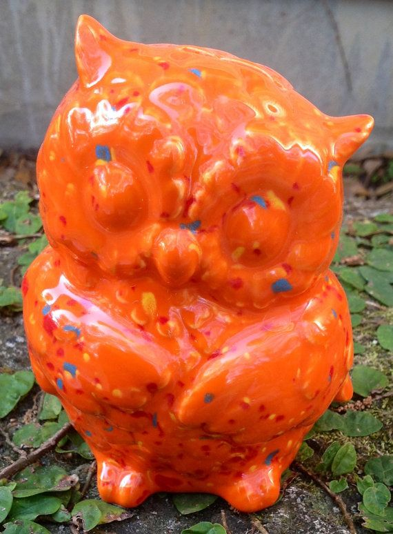 owl piggy bank neon orange with red blue and yellow by muddyme, $17.00