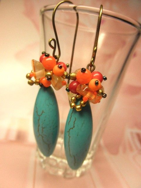 Turquoise Coral Beads Antique Brass Dangle by houseofgoodies, $18.00