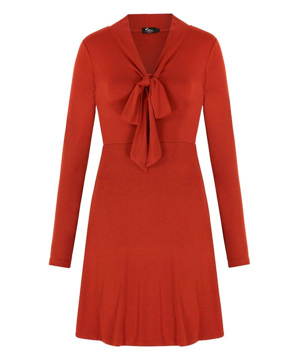 Look at this Iska London Rust Bow Empire-Waist Dress on #zulily today!