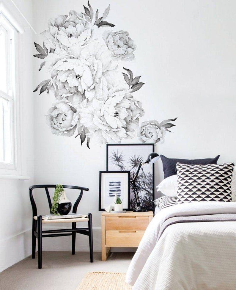 Pfingstrosen Blumen Wandaufkleber Schwarz Weiß Aquarell Etsy Flower Wall Stickers Wall Stickers Black And White Wall Decals For Bedroom