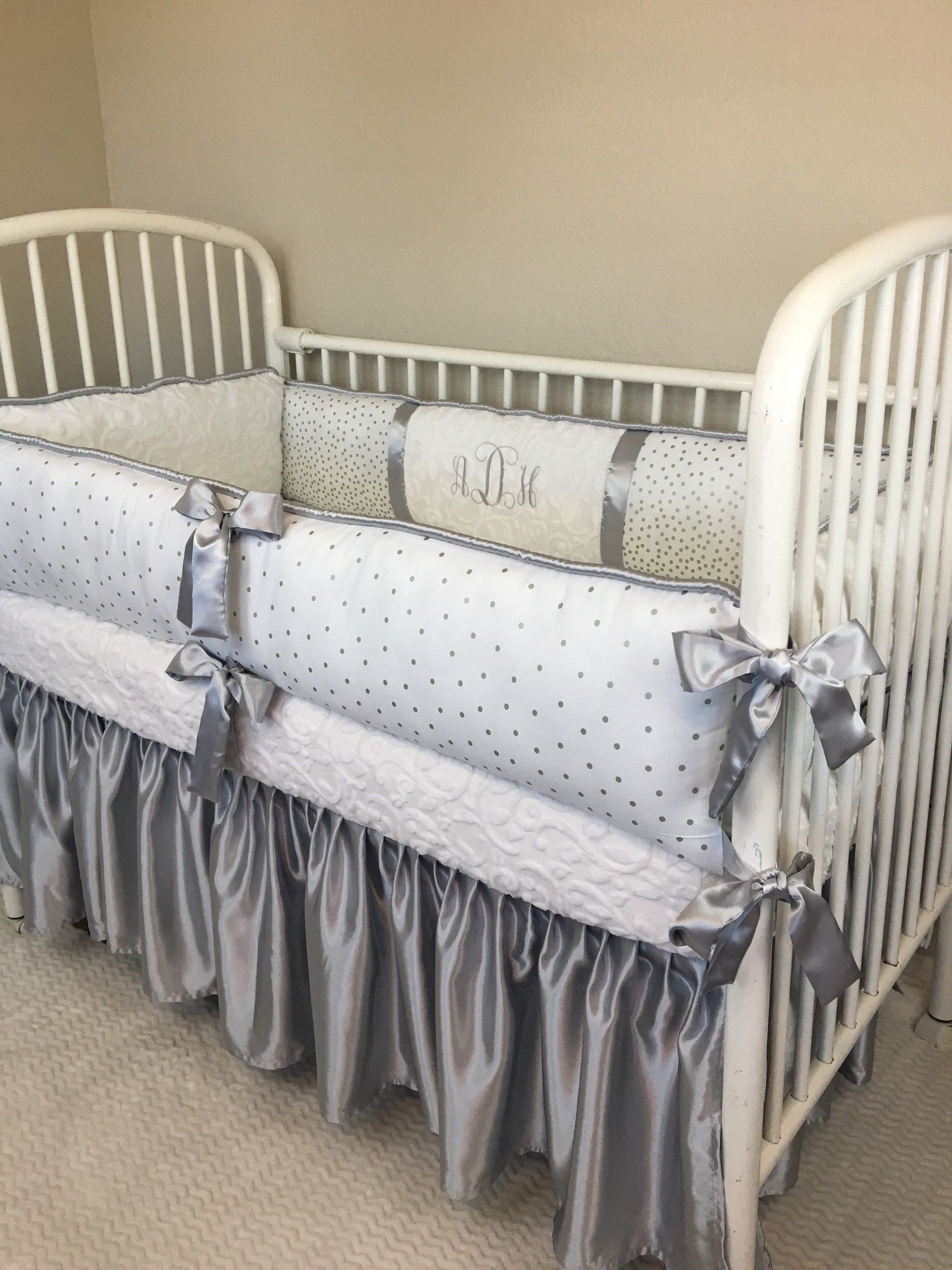 Silver Satin Crib Skirt Baby Bedding Crib Set Abusymother Baby