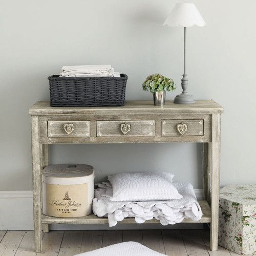 Drapier en bois de paulownia grisée L 105 cm | cupboard ...